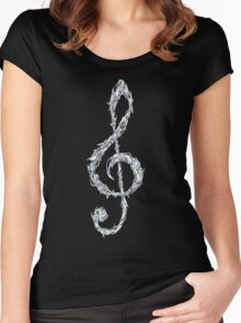 Metal Treble Clef Women's Fitted Scoop T-Shirt