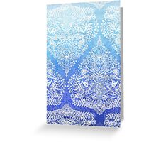 Out of the Blue - White Lace Doodle in Ombre Aqua and Cobalt Greeting Card