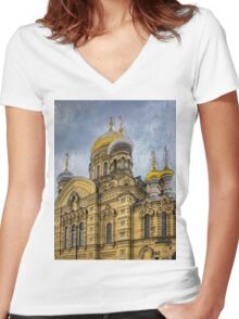 Church of the Assumption of the Blessed Virgin Mary - St. Petersburg Women's Fitted V-Neck T-Shirt