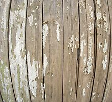 Old wooden fence with exfoliated paint by vladromensky