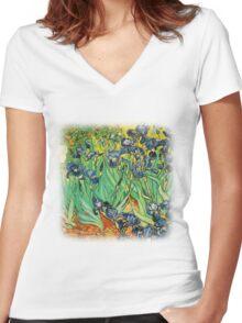 Irises, Vincent van Gogh Women's Fitted V-Neck T-Shirt
