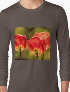 Glowing Red Tulips Long Sleeve T-Shirt