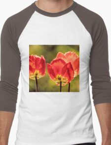 Glowing Red Tulips Men's Baseball ¾ T-Shirt