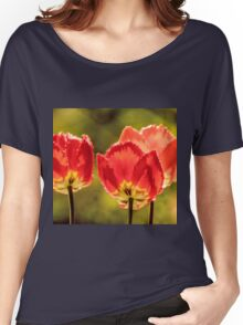 Glowing Red Tulips Women's Relaxed Fit T-Shirt