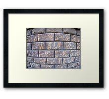 Fragment of the wall of the large gray concrete blocks Framed Print