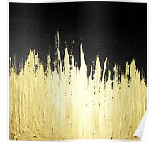 Paint Strokes in Faux Gold on Black Poster