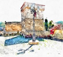 Agropoli: square with tower by Giuseppe Cocco