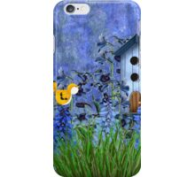 Larspur Garden with Yellow Canary iPhone Case/Skin