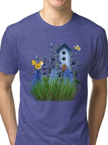 Larkspur Garden with Yellow Canary Tri-blend T-Shirt