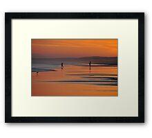 Beach Silhouettes - Redhead Beach NSW Australia Framed Print