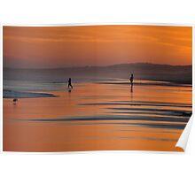 Beach Silhouettes - Redhead Beach NSW Australia Poster