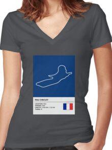Pau Circuit - v2 Women's Fitted V-Neck T-Shirt