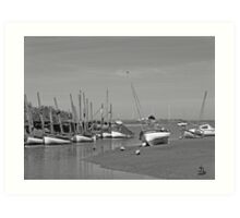 Blakeney Quay North Norfolk in Monochrome Art Print