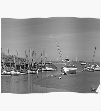 Blakeney Quay North Norfolk in Monochrome Poster