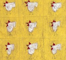 Nine chickens on antique yellow by Tine  Wiggens