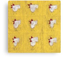 Nine chickens on antique yellow Canvas Print