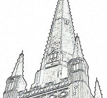 Norwich Cathedral as monochrome Line Art by johnny2sheds