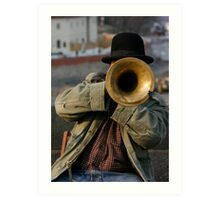 Singer guy on San Carlo bridge in Prague Art Print