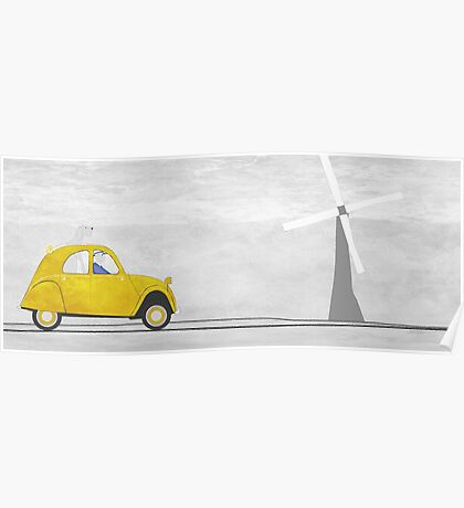 Yellow Car in France Poster