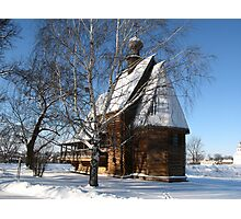 Wooden church in winter Photographic Print