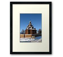 Wooden church, winter Framed Print