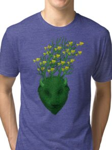 Sea Buffalo Dreaming Green Heart  Tri-blend T-Shirt