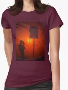 The shadow of a man on a red-orange wall Womens Fitted T-Shirt