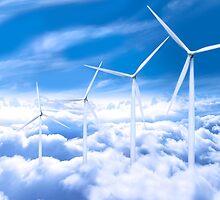 Wind turbines over Copenhagen blue sky, Denmark by Digital Editor .