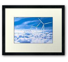 Wind turbines over Copenhagen blue sky, Denmark Framed Print