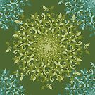Floral Green Blue Pattern by elangkarosingo