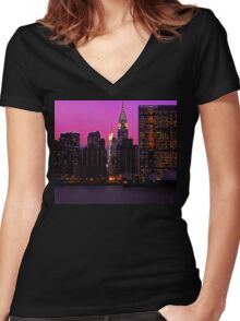 THE UNITED NATIONS AND CHRYSLER BUILDING Women's Fitted V-Neck T-Shirt