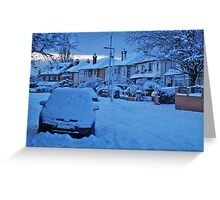 Snowy Suburbia Greeting Card