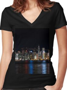 a historic Hong Kong landscape Women's Fitted V-Neck T-Shirt