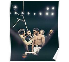 Ali being interviewed at weigh-in. Poster