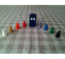 TARDIS and rainbow Daleks Photographic Print