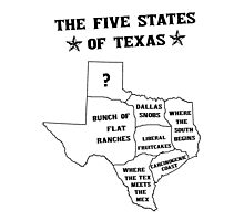 The 5 States of Texas Photographic Print