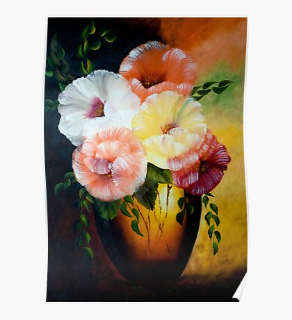 Poppies - A Vase of Colorful Poppies Poster