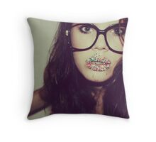 Do i have something on my lip? Throw Pillow