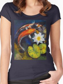 Koi Fish and Water Lily Women's Fitted Scoop T-Shirt