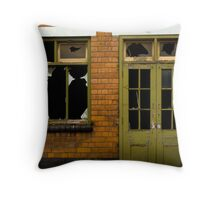 old security shack Throw Pillow