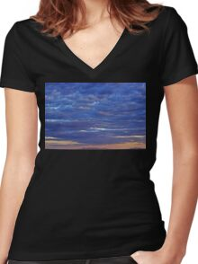 Mountain Sunset II Women's Fitted V-Neck T-Shirt