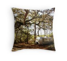 Airstream Trailer in the Forest Throw Pillow