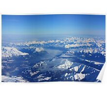 Swiss Alps with Fog. Aerial View Flying  from Milan to Frankfurt. 2010 Poster