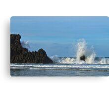 Crashing waves, Playa de San Antolin, Asturias, Spain Canvas Print