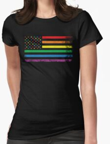 Rainbow American Flag Womens Fitted T-Shirt