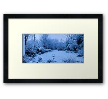 Snowy Blanket over my Back Garden: Pano 5 Stitch  Framed Print