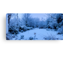 Snowy Blanket over my Back Garden: Pano 5 Stitch  Canvas Print