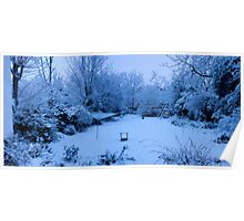 Snowy Blanket over my Back Garden: Pano 5 Stitch  Poster