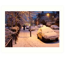 My Snowy Street: Chatsworth Way, West Norwood, London. UK Art Print