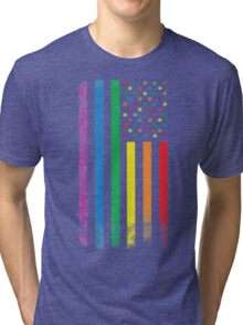 Rainbow American Flag Tri-blend T-Shirt